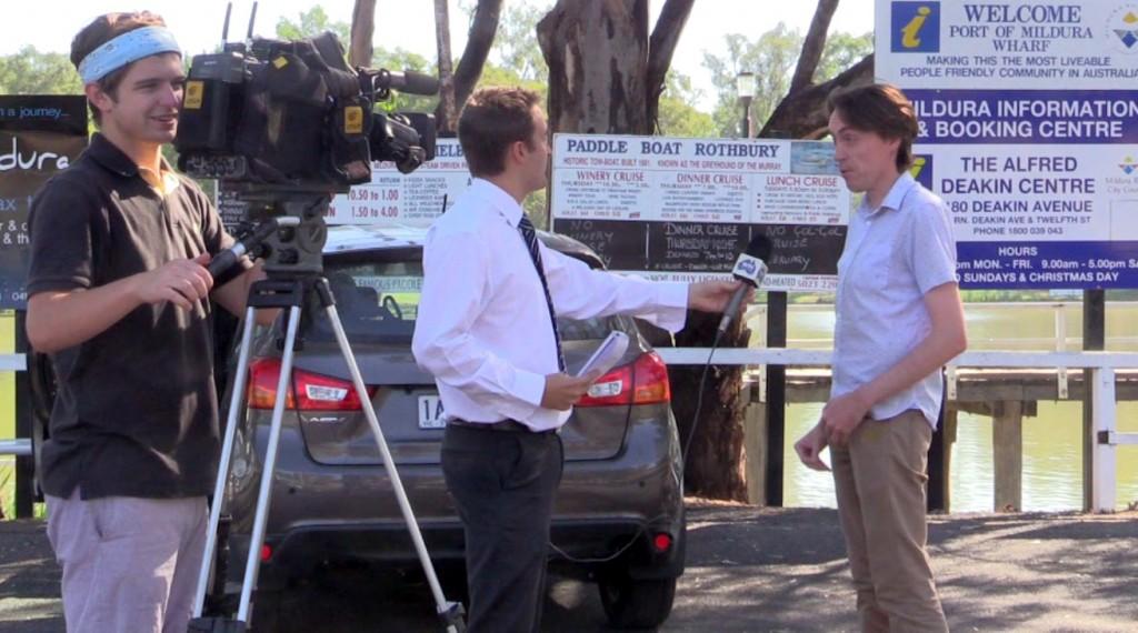 Being Interviewed by Eddie Summerfield - WIN News Mildura